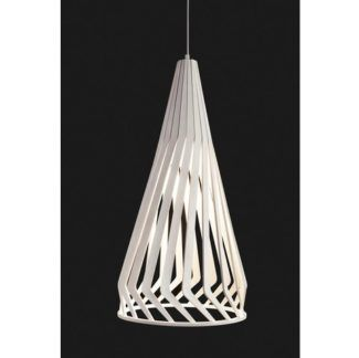 Biała lampa wisząca Bio - drewniany klosz