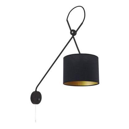 czarno-złoty kinkiet z abażurem nowoczesny