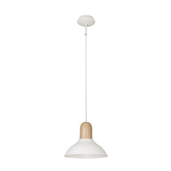 Biała lampa wisząca Wood Boy - drewniany detal