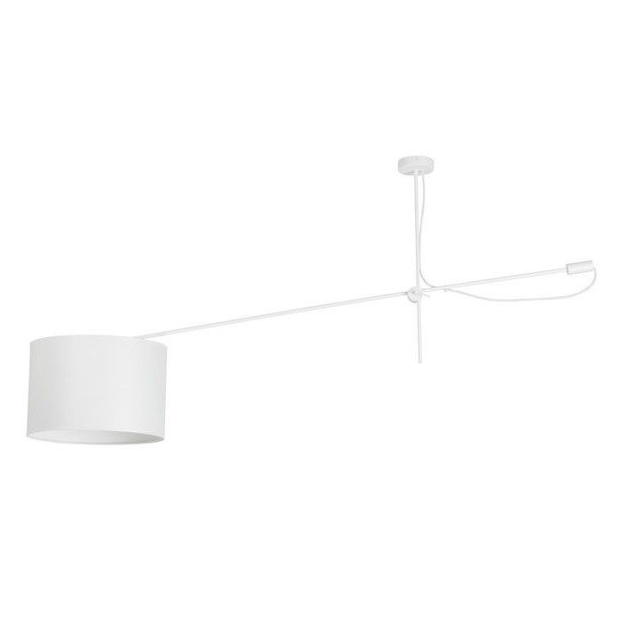 lampa sufitowa z abażurem na wysięgniku biała