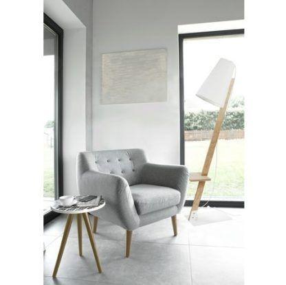 drewniana lampa podłogowa biały abażur