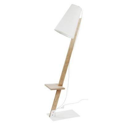 Skandynawska lampa podłogowa Torino - drewniana, biały abażur