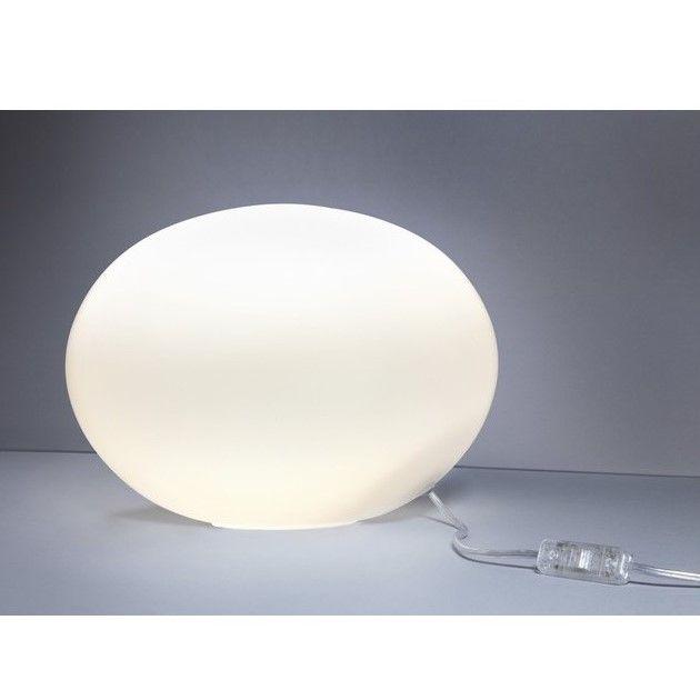 lampa stołowa biała kula księżyc