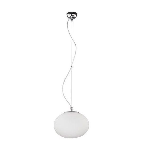 lampa wisząca z białym, szklanym kloszem