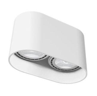 Białe oczko stropowe Oval - dwa źródła światła