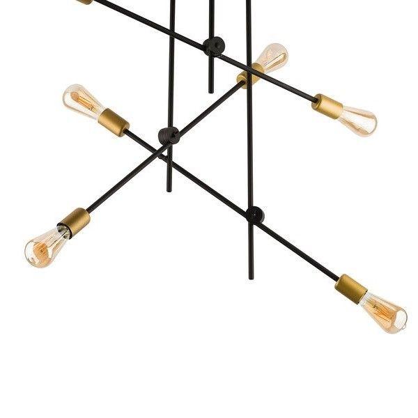 designerska lampa sufitowa z metalowych prętów, geometryczna