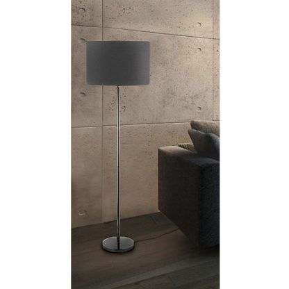 lampa podłogowa z szarym abażurem