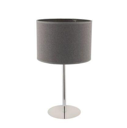 srebrna lampa stołowa z szarym abażurem