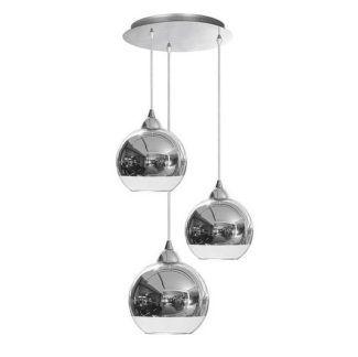 Potrójna lampa wisząca Globe - szklane klosze, chrom