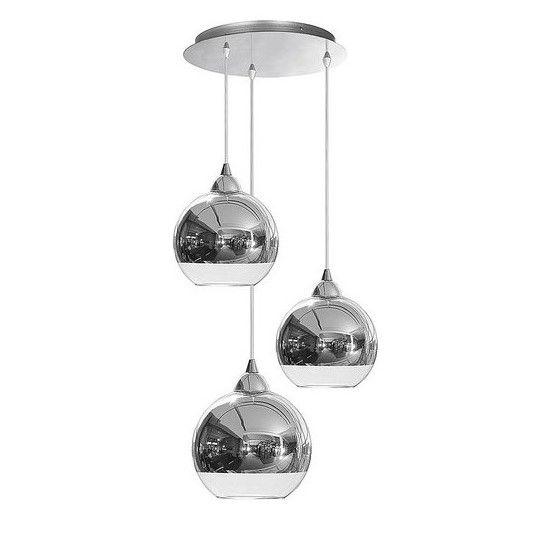 lampa wisząca ze szklanymi kloszami, srebrna