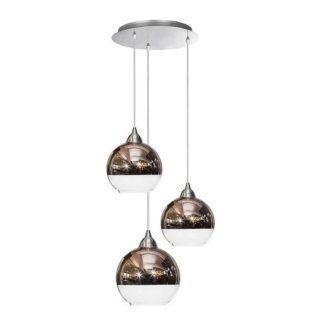 Nowoczesna lampa wisząca Globe - 3 szklane klosze, miedź