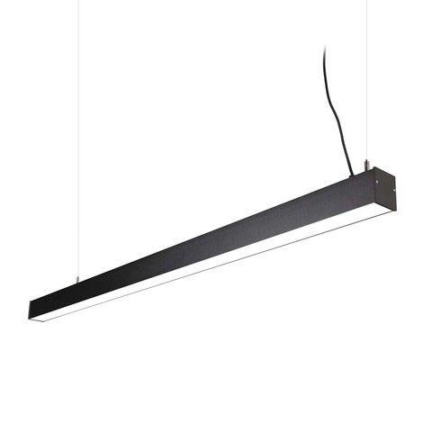 czarna lampa wisząca na świetlówkę do biura
