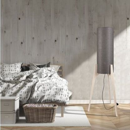 Oryginalna lampa podłogowa Neo - szary abażur, trójnóg