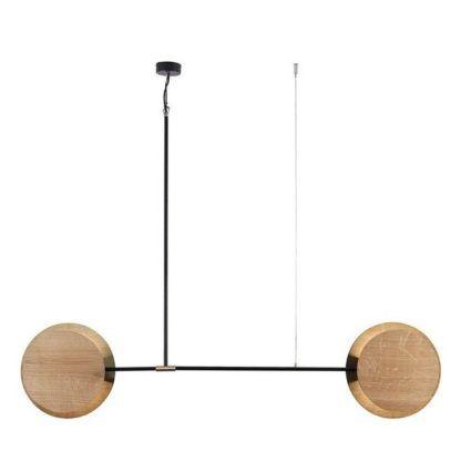 lampa wisząca z drewnianymi kloszami nowoczesna