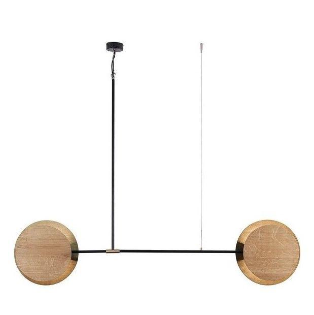designerska lampa wisząca drewniana