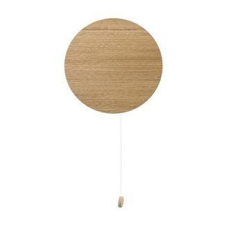 Brązowy kinkiet Minimal - okrągły, drewniany