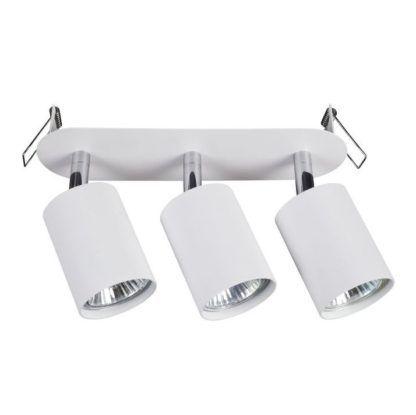 biała lampa sufitowa z regulowanymi reflektorami