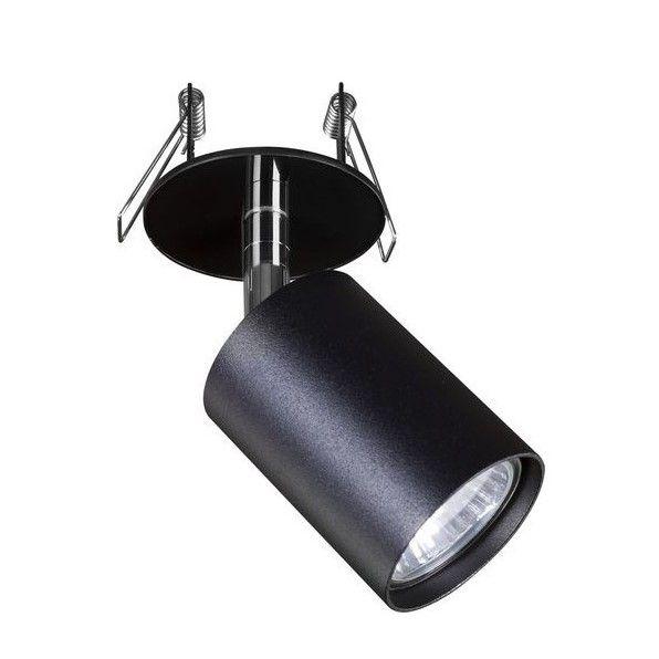 czarny regulowany reflektor wpuszczany w sufit