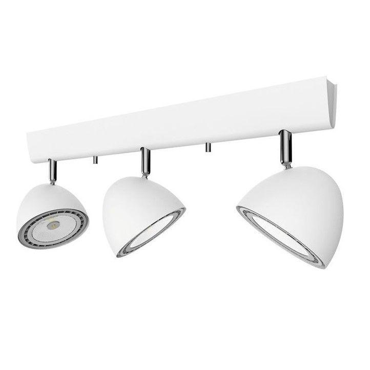 podłużna lampa z reflektorami biała