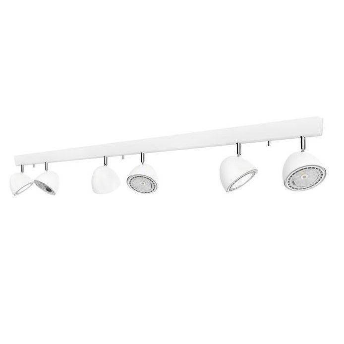 podłużna lampa z reflektorami sufitowymi