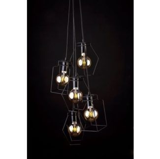Czarna lampa wisząca Fiord - druciane klosze