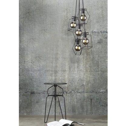 lampa wisząca z drucianymi kloszami industrial