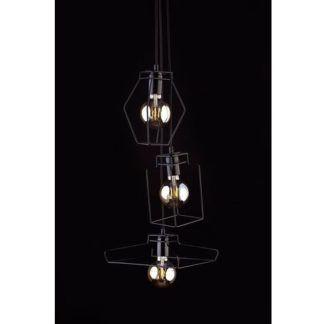 Potrójna lampa wisząca Fiord - czarna, industrialna