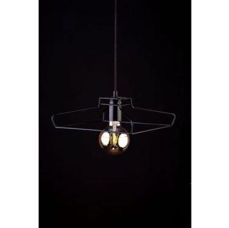 Druciana lampa wisząca Fiord - czarna oprawa