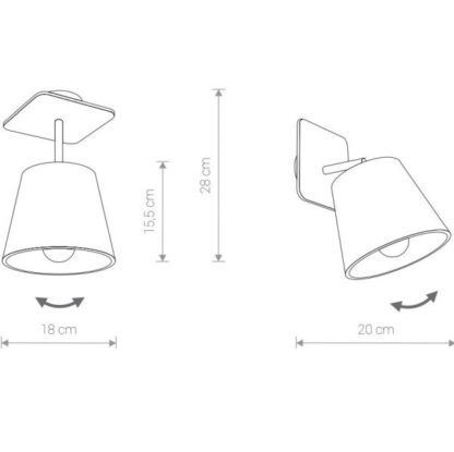 regulowany reflektor z szarym abażurem