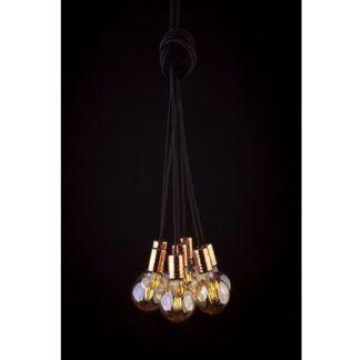 Lampa wisząca Cable - czarno-złota, 7 źródeł światła