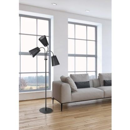 czarna lampa podłogowa z miękkimi ramionami