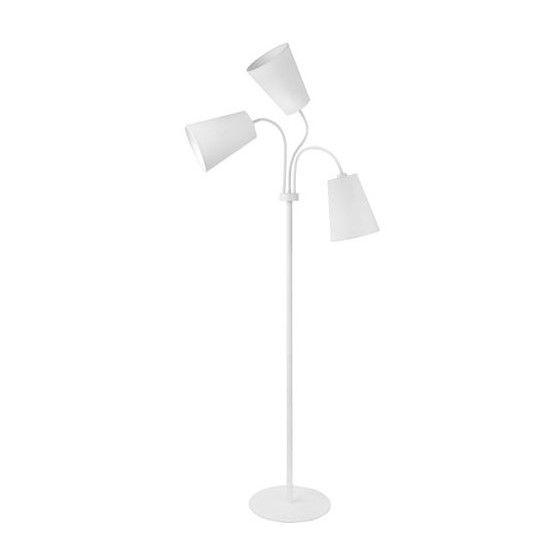 biała lampa podłogowa z wyginanymi kloszami
