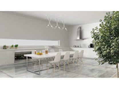 podłużna lampa sufitowa biała aranżacja kuchnia
