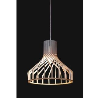 Drewniana lampa wisząca Bio - brązowy, ażurowy klosz