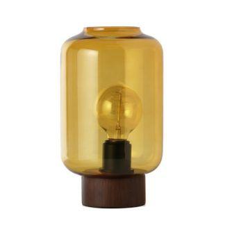 Szklana lampa stołowa Column - miodowa, drewniana podstawa