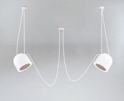 Lampa wisząca Dobo z dwoma pięknymi kloszami  i ozdobnymi kablami - biała