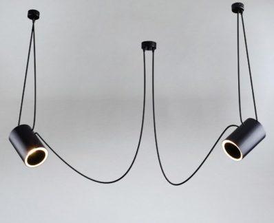Nowoczesna lampa wisząca Dubu z tubą - czarna