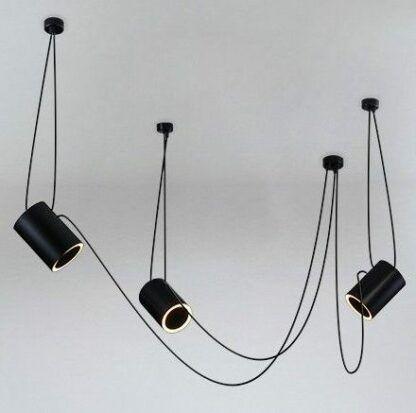 czarna lampa pająk z kloszami tubami