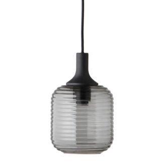 Szara lampa wisząca Honey - szklany klosz, czarne zawieszenie
