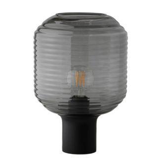 Szklana lampa stołowa Honey - szary klosz