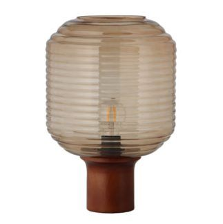 Szklana lampa stołowa Honey - drewniana podstawa
