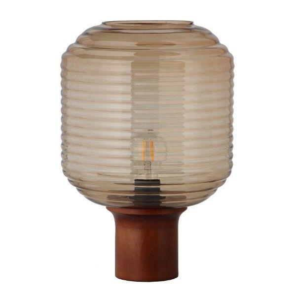 beżowa lampa stołowa na drewnianej podstawie