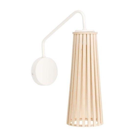 biały kinkiet z drewnianym kloszem scandi