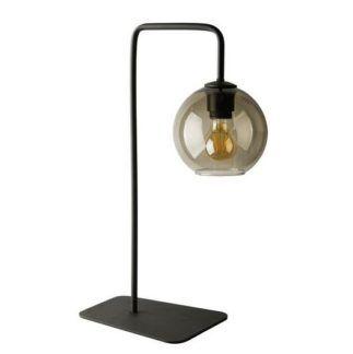 Czarna lampa stołowa Monaco - beżowy klosz ze szkła