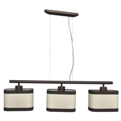 potrójna lampa wisząca z abażurami brąz beż