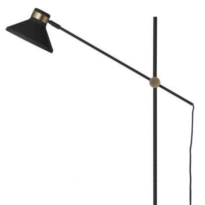 czarna lampa podłogowa z regulacją