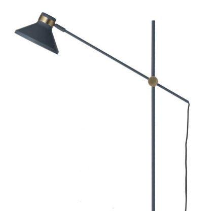 niebieska lampa podłogowa z regulacją