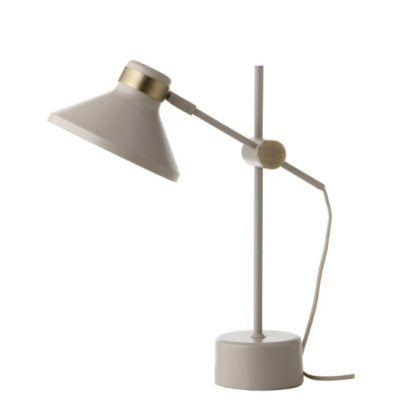 biała lampa biurkowa złote detale