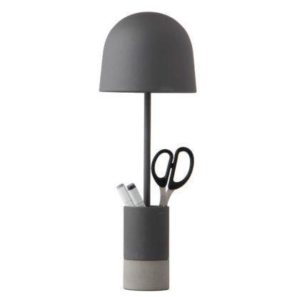 szara lampa biurkowa z przybornikiem