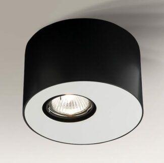 Stylowa lampa sufitowa tuba Toki - czarno-biała